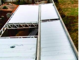Cobertura em telha trapézio com isolante térmico e sonoro